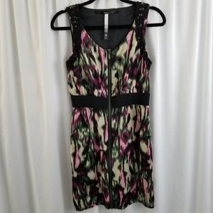 Kensie Watercolor Front Zip Tank Dress Size Small